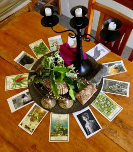 Our table centrepiece with memories of the activites on the Re-wild Yourself retreat